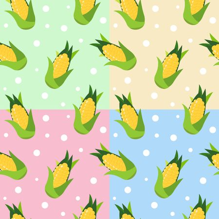 Seamless pattern with yellow corn and leaves on pastel green background. Vector illustration. Stock Illustratie