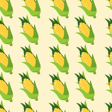 Seamless pattern with yellow corn and leaves on pastel green background. Vector illustration. 向量圖像
