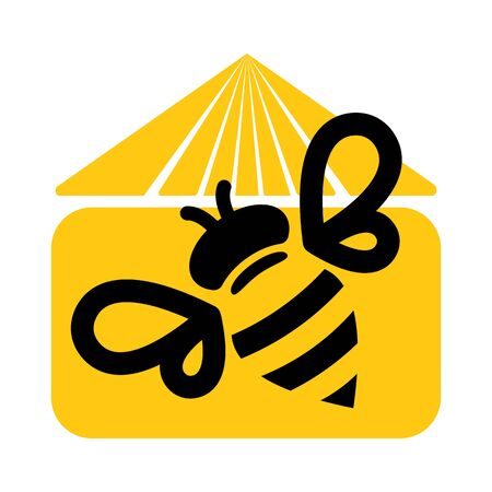 honey bee house icon logo design. vector illustration.