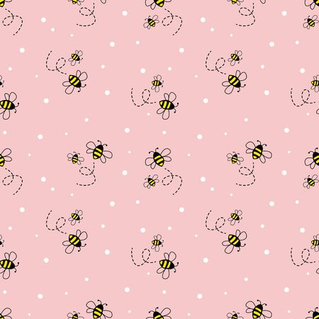 bee seamless pattern on pastel background. vector illustration. 向量圖像