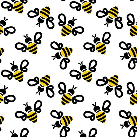 bee seamless pattern on pastel background. vector illustration. Stock Illustratie