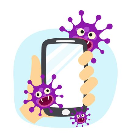 hand holding dirty smartphone with virus. covid-19 prevention concept. vector illustration.