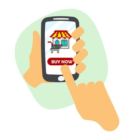 hand holding smart phone with shopping icon. online shopping concept. 向量圖像