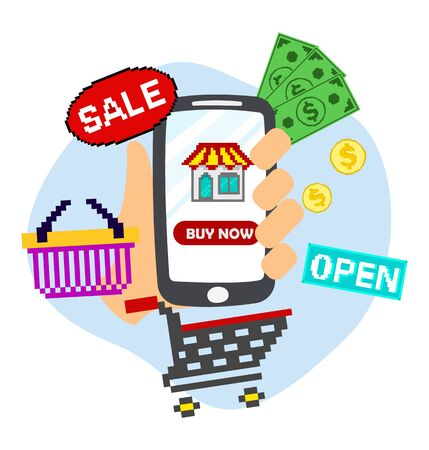 hand holding smart phone with shopping icon. online shopping concept. Stock Illustratie