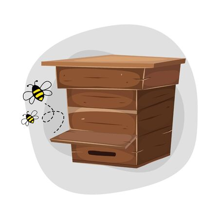 Bee and bee House icon design. Vector illustration.
