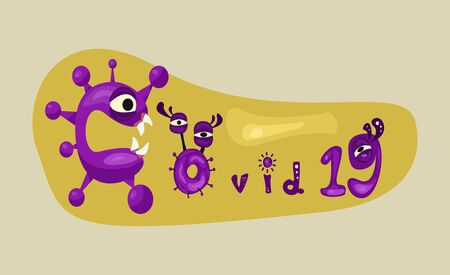 covid-19, coronavirus cartoon charactor text design. vector illustration