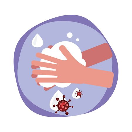 hand washing with water and soap to protect the virus. covid-19, coronavirus prevention concept. vector illustration
