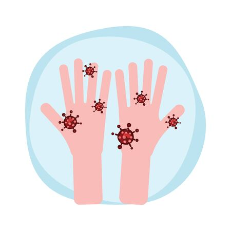 Hand with virus. coronavirus, covid-19 concept. vector illustration 向量圖像