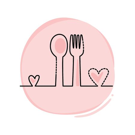 cute fork and spoon with heart shape. love food concept. vector illustration