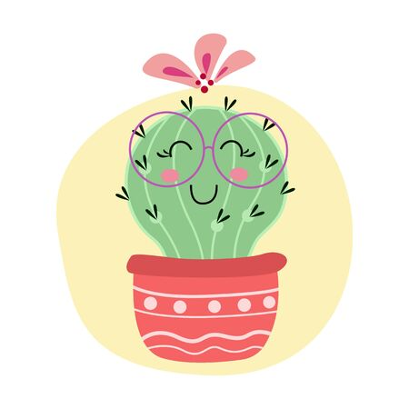 happy cactus smiling character. home plant decoration concept. vector illustration Stock Illustratie
