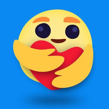 Round Yellow cartoon hugging heart love emoji reaction amid coronavirus pandemic. vector illustration.