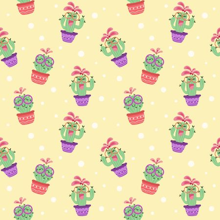 happy cactus smiling character seamless pattern. home plant decoration concept. vector illustration