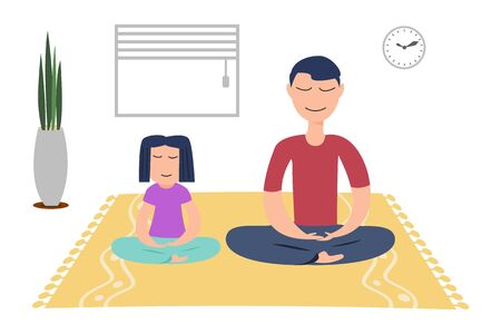 family with little daughter meditate relieve negative emotions at home.