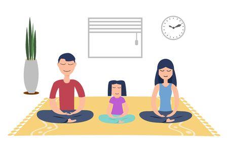 Familie mit kleiner Tochter meditiert, um negative Emotionen zu Hause zu lindern. Vektorgrafik