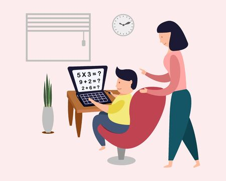 Home school online education concept. kid learning online training class. vector illustration 向量圖像