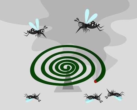 mosquito carrier of dengue fever, chikungunya, zika and malaria . mosquito prevention with aroma smoke concept. vector illustration. 向量圖像