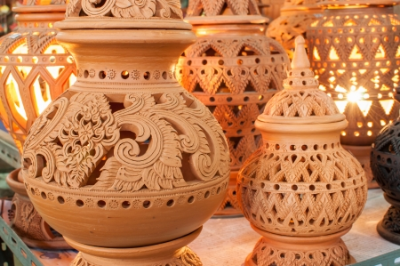 make dirty: Pottery is an art that is beautiful designs from Thailand Stock Photo
