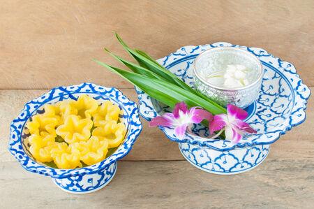 Kanom Thong Yib is an ancient Thai dessert served in auspicious ceremonies photo