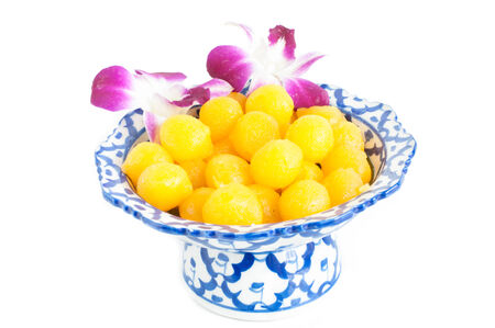 Kanom Thong Yod (gold egg yolks drops) a traditional Thai dessert photo