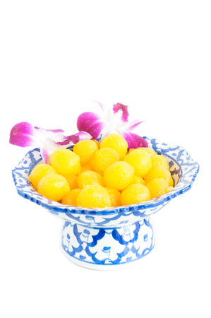 Kanom Thong Yod (gold egg yolks drops) a traditional Thai dessert photo