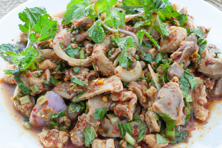 thai food spicy minced chicken salad photo