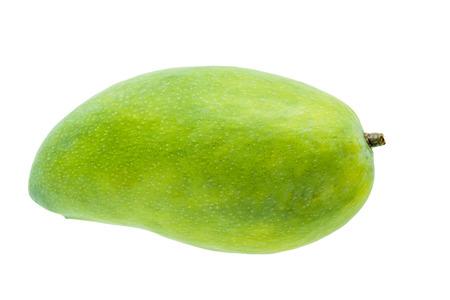 흰색 배경에 고립 된 신선한 녹색 망고 열매 스톡 콘텐츠