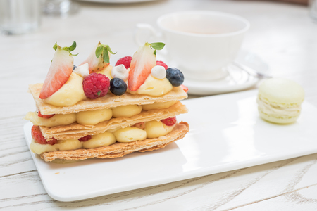 mille: mille feuille, puff pastry with strawberries and raspberry