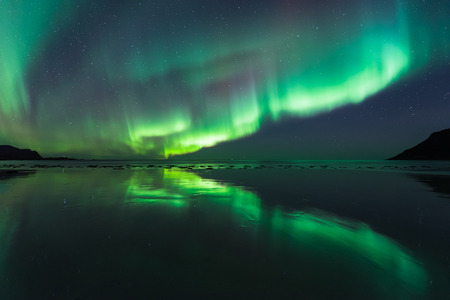 Northern lights over the Skagsanden beach , lofoten islands, Norway