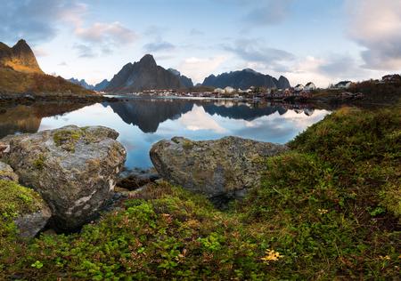 Beautiful landscape from Reine fishing village, Lofoten Islands, Norway Stock Photo