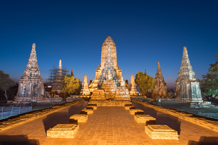 Wat Chaiwatthanaram is ancient buddhist temple, famous and major tourist attraction religious of Ayutthaya Historical Park, Thailand