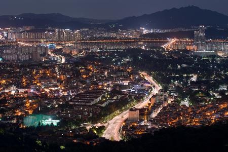 Cityscape view of Seoul city at night, South Korea