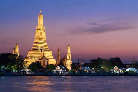 Wat Arun Ratchawararam (the Temple of Dawn) at sunset, one of the famous place in Bangkok, Thailand