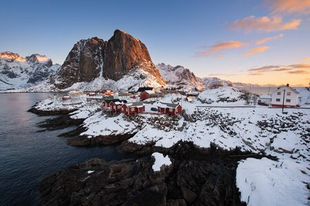 Beautiful landscape from Reine fishing village at sunrise in winter season, Lofoten islands, Norway, Europe