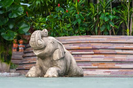 Luxury Outdoor garden and an Elephant sculpture Feature at a Thai Spa Resort Stock Photo - 21352778