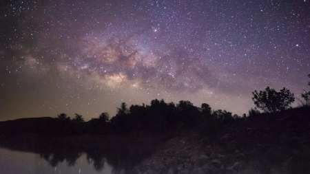 Milky way galaxy rise on  lake, mountain photo