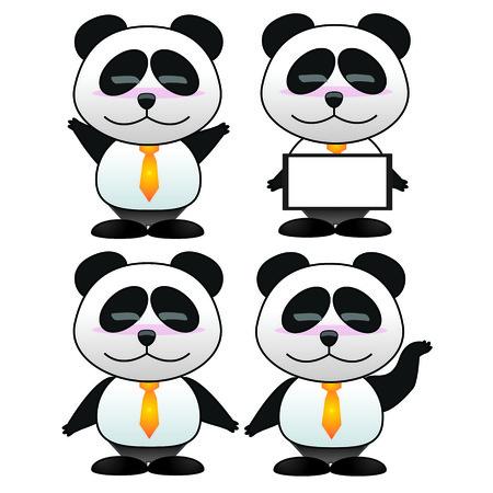 panda cartoon: Panda the businessman set