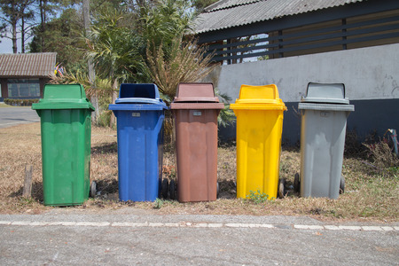 five color trashcans photo
