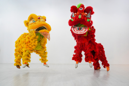 manipulated China Lion, Asian traditional activity for celebration., Thailand. Stock Photo