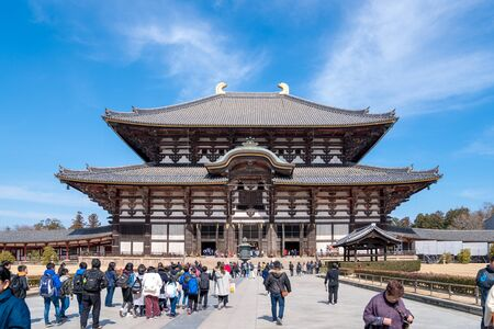 Nara Prefecture, Japan - 2 Mar 2018: People (traveler, group tour, local people, Japanese people) visited and traveled around Todaiji Temple at the afternoon, Nara Prefecture, Japan.