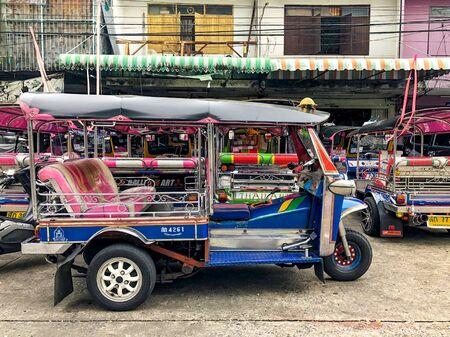 Bangkok, Thailand - 29 Aug, 2018: Thailand Taxi called Tuk Tuk or Sam Lor, it has 3 wheels and drive around Bangkok, Thailand.