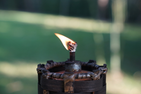 close up torch and fire in the garden with green blur background.