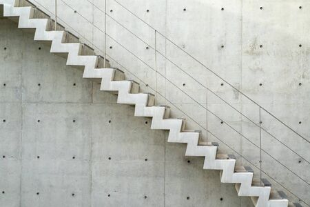 Raw stair in section angle, outdoor, exterior concept.