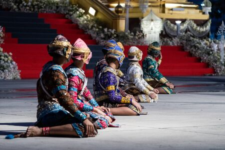Ramayana pantomime story dancing and acting on the ground by Thai students in Thai Temple 스톡 콘텐츠
