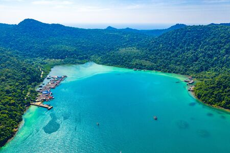 Fisherman valley between sea and forest and mountain at Koh Kood East of Thailand.