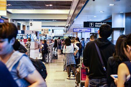 Bangkok, THAILAND - 30 Sep, 2017: Travelers & Passenger in the line are waiting for check in at Donmuang International Airport, Bangkok, Thailand.