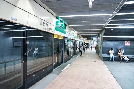 Taipei, TAIWAN - 1 Oct, 2017: The Passengers walking around for a transportation platform in the Taiwan underground train station in Taipei, Taiwan.