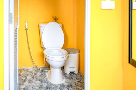 Yellow Toilet room with flush toilet, tash and toilet paper inside it. This is located in the garden. Reklamní fotografie