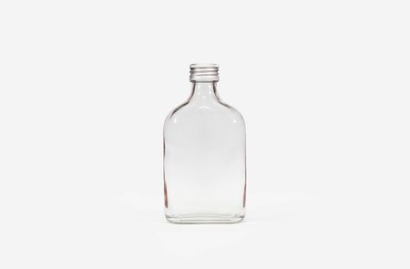 Isolated clear glass bottle white background with clipping path.