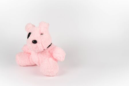 One pink dog doll with the black area around it eye.