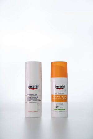 Bangkok, Thailand - 18 Aug, 2019: Eucerin daily moisturizer for hypersensitive skin and sun protection product sebum control SPF 60 oxidant filter on sales exclusive to hospital at Bangkok Thailand. 에디토리얼